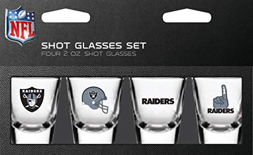 (PSG NFL Oakland Raiders Shot Glass Set4 Pack Shot Glass Set, Team Colors, One Size)