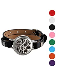 Mens Womens Essential Aromatherapy Oil Diffuser Locket Music Symbol Charm Leather Wrap Bracelet With 8 Color Pads,Size Adjustable,Black