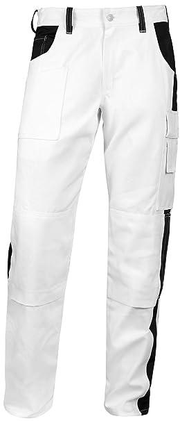 Elasticos Hombre Pantalones de Pintor yesero Limpiador Pantalones de Trabajo Blanco con Bolsillo para Rodillera,