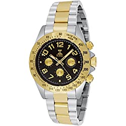 Nobel Men's 7C89G Chronograph Display Two Tone Stainless Steel Multi-Function Watch, Cool Christmas Gift for Him
