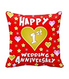 TiedRibbons® 1st Wedding Anniversary Gift Printed Cushion(12 Inch X 12 Inch) with Filler