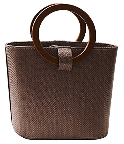 QZUnique Women's Solid Straw Bucket Bag Tote Handbags Shoulder Bags Big Handbags Top Handle Straw Bag