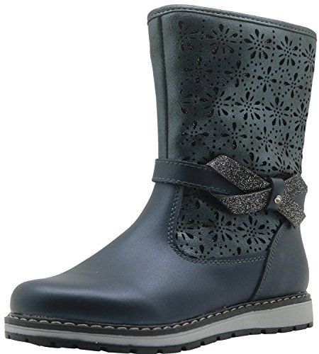 Apakowa New Girl's Leather Boots with Woolen Lining (Toddler/Little Kid) ( Color : Blue , Size : 13 M US Little Kid )