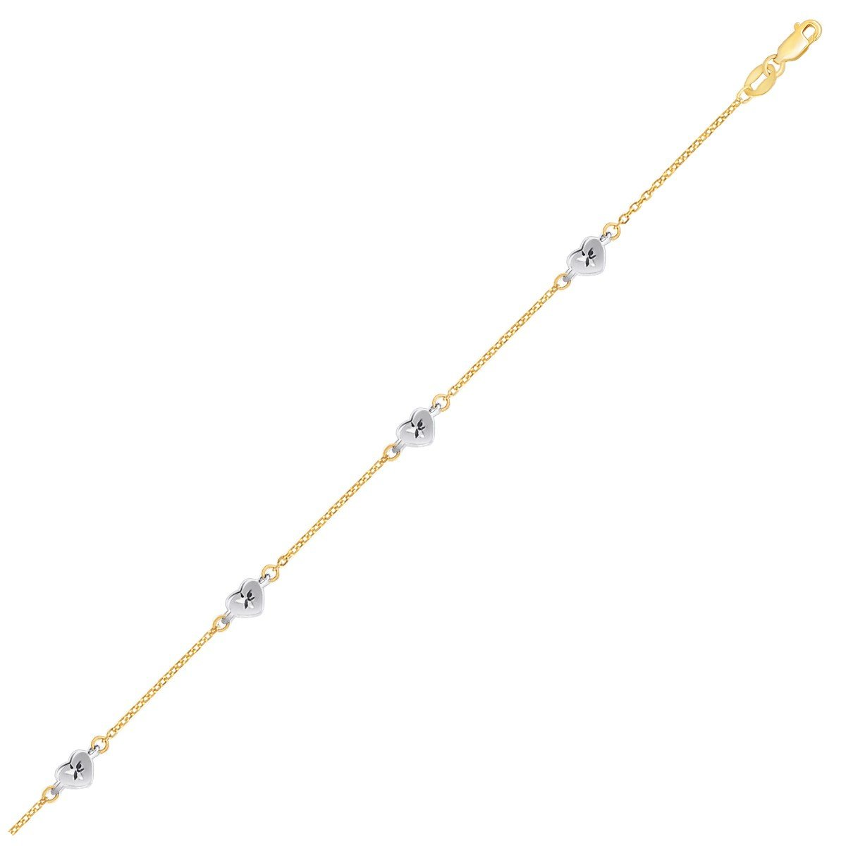 14K Two Tone Gold Anklet with Diamond Cut Heart Style Stations by Diamond Designs