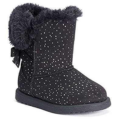Amazon.com | Best Snow Boots Small Girls Sparkly Black w Faux Fur ...
