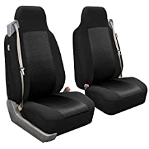 FH Group FB302BLACK102 Black Classic Cloth Front High Back Seat Cover, Set of 2 (Solid Built-In Seatbelt Compatible)