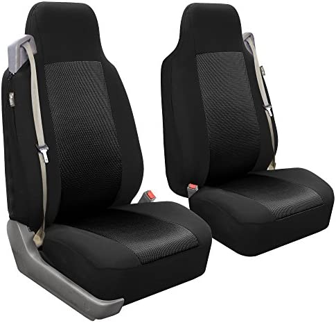 FH Group FB302BLACK102 Black Classic Cloth Front High Back Seat Cover Set of 2 (Solid Built-in Seatbelt Compatible)