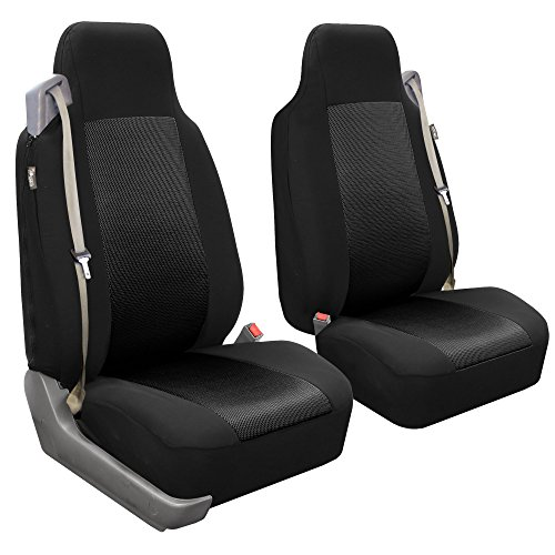FH Group FB302BLACK102 Black Classic Cloth Front High Back Seat Cover, Set of 2 (Solid Built-In Seatbelt Compatible) by FH Group