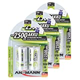 ANSMANN Rechargeable C Batteries 2500mAh maxE ready2use NiMH Professional C Battery pre-charged Power Accu for flashlight etc. (6-Pack)