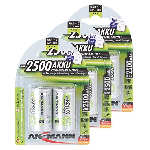 ANSMANN maxE Baby C Akku 2500mAh (6er Pack) vorgeladene ready2use NiMH Power Akkubatterie Babyzelle mit geringer Selbstentladung