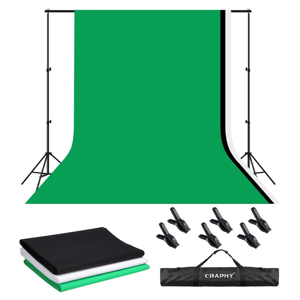 CRAPHY 50CMx70CM 2x125W 5500K Photography Video Studio Softbox Continuous Lighting Kit Equipment with 1.8Mx2.8M Upgraded Muslin Backdrop Kits Black,White,Green ,3Mx2M Background Support System,Portable Bag