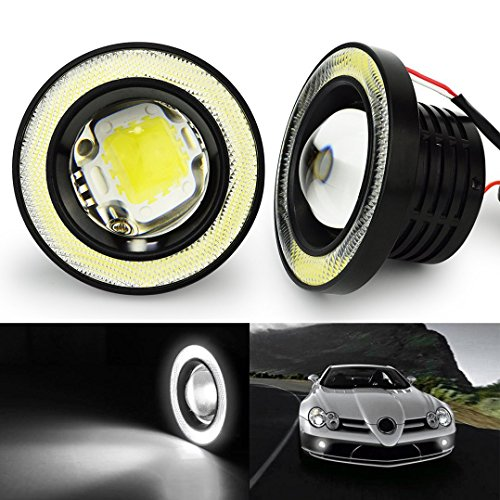 "SOCAL-LED 2x Round 3.5"" COB LED Fog Light Bulbs Angel Eye Projector Lamp High Power Bright DRL Halo Ring, 7000K Xenon White"