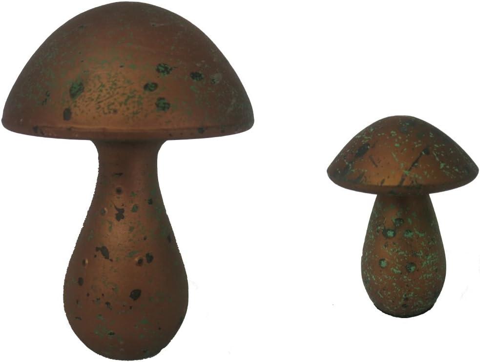 Gilde Juego de 2 diseño de Seta Drop, cerámica, Bronce de Color Verde, tamaño: 10 x 12 cm & 15 x 20 cm: Amazon.es: Juguetes y juegos