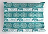 Ambesonne Animal Pillow Sham, Ethnic Style Pattern Elephant Tradition Eastern Vintage Oriental Curve Festive, Decorative Standard Size Printed Pillowcase, 26 X 20 inches, Teal Light Blue