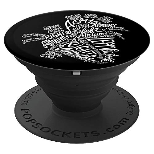 Anatomical Heart Medical White Word Art Cloud on Black - PopSockets Grip and Stand for Phones and Tablets