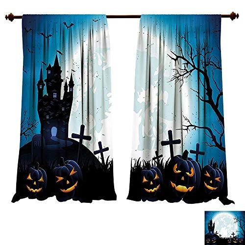 fengruiyanjing-Home Thermal Insulating Blackout Curtain Spooky Concept with Halloween Icons Old Harvest Festival Figures in Dark Image Blue Patterned Drape for Glass Door (W72 x L72 -Inch 2 -