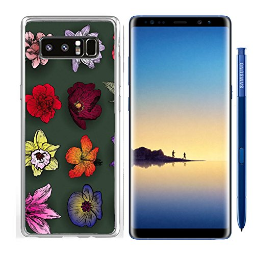 Luxlady Samsung Galaxy Note8 Clear case Soft TPU Rubber Silicone IMAGE ID: 41494075 Set of flowers rose bird cherry tree lilac clematis orchid lily waterlily lotus hibiscus (Clematis Lily)