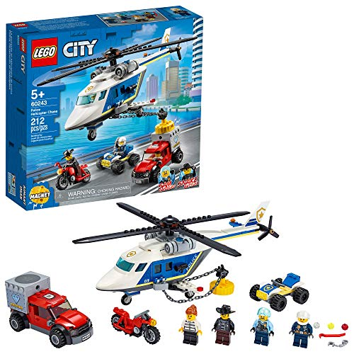 LEGO City Police Helicopter Chase 60243 Police Playset, Building Sets for Kids, New 2020 (212 Pieces)
