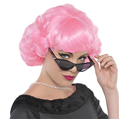Pink Frenchie Wig (Amscan Fabulous '50s Costume Party Frenchie Synthetic Fiber Wig (1 Piece), One Size, Pink)