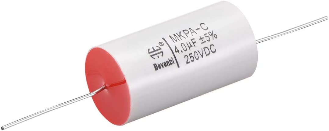 uxcell Film Capacitor 250V DC 4.0uF Round Axial Polypropylene Film Capacitor for Audio Divider