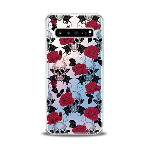 - Lex Altern TPU Case for Samsung Galaxy s10 5G Plus 10e Note 9 s9 s8 s7 Floral Skeleton Clear Soft Lightweight Flowers Flexible Print Horror Cover Gift Old School Design Man Smooth Slim Red Roses Leaf