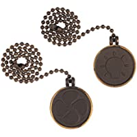 uxcell 2pcs Bronze 12 inches Coin Shape Bulb Pull Chain,Ceiling Fan Pull Chain