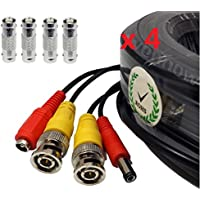 4 Pack 100ft BNC Extension Video Power Cable Security Camera Wire Cord for CCTV Video Security Systems
