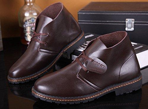 Aisun Hommes Occasionnels Vintage Bout Rond Robe Lace Up Appartements Oxfords Chaussures Sneakers Bottes De Combat Brun Foncé