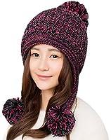 Hawkko ニット帽 レディース ポンポン 大きいサイズ 耳あて付 手編み かわいい 秋冬 スキー スノボ 防寒 雪山 ケーブル編み おしゃれ 小顔効果