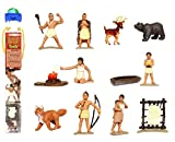 Safari Ltd Powhatan Indians TOOB With 12 Historical Figurine Toys, Including a Camp Fire, Powhatan Woman Cooking, a Fox, Stretched Deer Hide, Bear,
