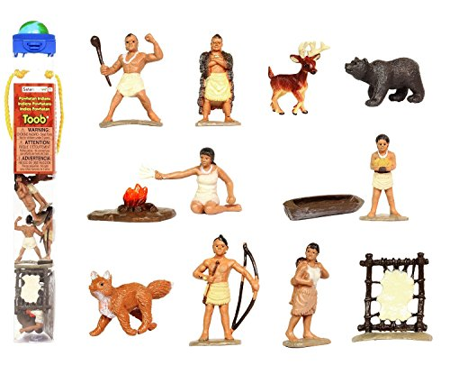 Safari Ltd Powhatan Indians TOOB With 12 Historical Figurine Toys, Including a Camp Fire, Powhatan Woman Cooking, a Fox, Stretched Deer Hide, Bear, Deer, Dugout Canoe, Powhatan Warrior with War Club, Pocahontas, Powhatan Hunter with Bow, Chief Whunsoncock, and Powhatan Woman with Baby (Action Figurine)