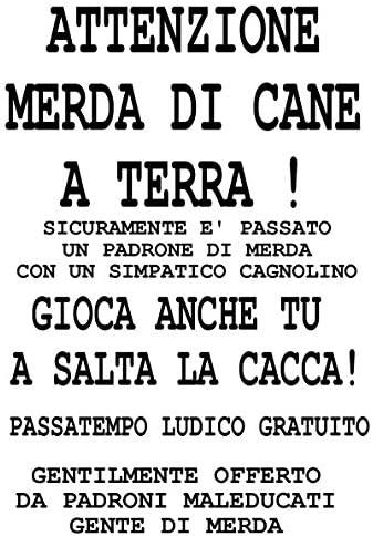 1 STAMPA 20X30 30X40 CM CARTELLO ATTENZIONE CACCA DI CANE MERD  DIVERTENTE