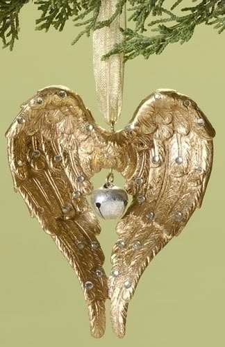 "4"" Winter's Beauty Gold Angel Wings with Bell Christmas Ornament"