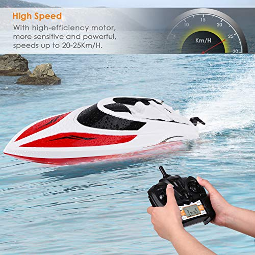 INTEY Remote Control Boat RC Boat 25KM/H High Speed Capsize Recovery Double  Hatch for Waterproof Extra Rechargeable Batteries Use in Pools, Lakes for