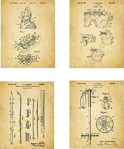 (Skiing Equipment Patent Wall Art Prints - set of Four (8x10) Unframed - wall art decor for skiiers)