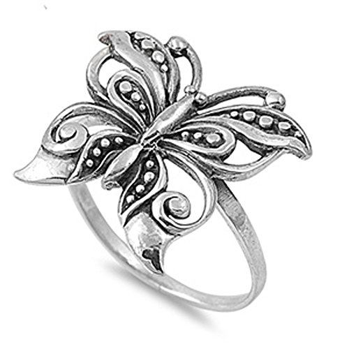 Antiqued Filigree Butterfly Boho Ring New .925 Sterling Silver Band Size 10 (Antiqued Filigree Butterfly Ring)