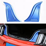 BORUIEN For Ford Mustang 2015 2016 2017 Aluminum Alloy Blue Trunk Decor Cover Decal Trim