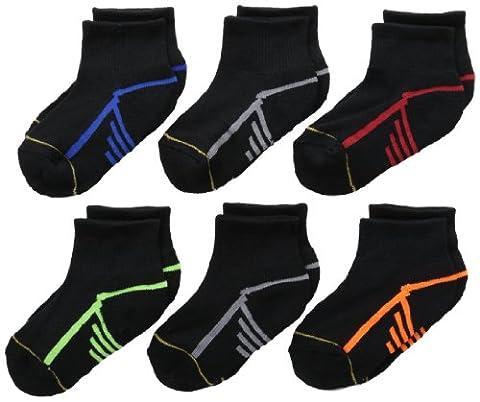 Gold Toe Big Boys' 6 Pack Athletic Quarter Sock, Black, Medium - Childrens Toe Socks