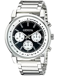 Geneva Men's FMDJM509B Analog Display Japanese Quartz Silver Watch