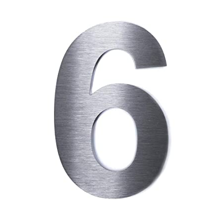 1 St/ück qoboob/® Edelstahl Hausnummern 6 Sechs oder 9 Neun Stra/ße Nummer Fein geb/ürstet Silber 200mm