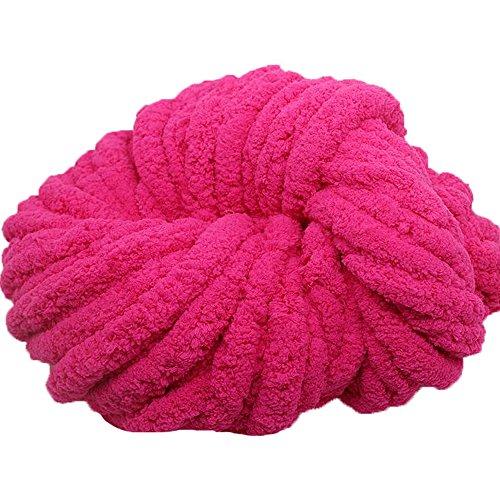 Chunky Chenille Knitting Yarn,Rose Pink Chunky Chenille Yarn for Arm Knitting Blanket Hat Scarf,Chunky Blanket Yarn,500g Hand Knitting Yarn