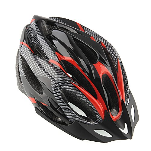 Sedeta® Cycling Bicycle Helmet Honeycomb Type 21 Holes Mountain Bike Racing Breezier Helmet Unisex Safety Protective Carbon with Visor Red Color Free Size Breather Durability Comfortable Cool