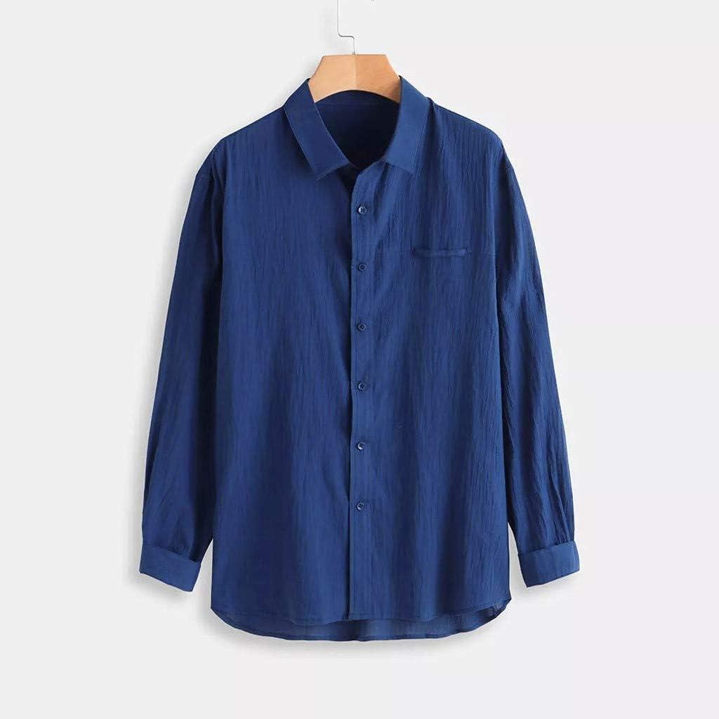 Cotton Linen Shirt Men Male Baggy Long Sleeve T Shirts Tops Button Retro Blouse Dress Shirt
