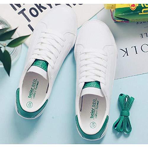 Bianco ZHZNVX Scarpe Rosa Bianco Comfort Tacco Green Primavera donna piatto Canvas White Sneakers Verde Argento Autunno da Bianco SBdrqPSg