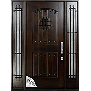 "Knotty Alder12""-36""X80"" Exterior Front Entry Door Solid Wood With Sidelights Right hand inswing"