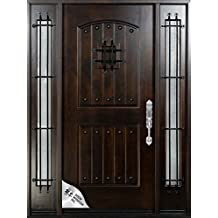 """Knotty Alder12""""-36""""X80"""" Exterior Front Entry Door Solid Wood With Sidelights Right hand inswing"""