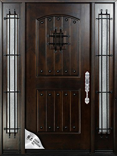 Knotty Alder12u0026quot; 36u0026quot;X80u0026quot; Exterior Front Entry Door Solid Wood  With Sidelights