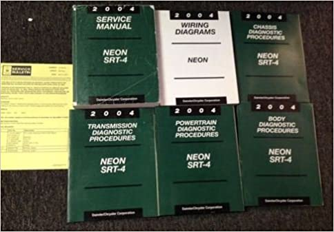 2004 dodge neon srt 4 service repair shop manual set w diagnostics & ewd +  recal paperback – 2004