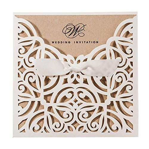 (Jofanza 1 Piece Sample Laser Cut Wedding Invitations Cards with Bowknot Ivory Square Lace Sleeve Engagement for Birthday Party Bridal Shower Quinceanera )