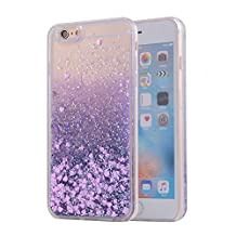 iPhone 6 Plus Case, SAUS iPhone 6S Plus Case, Funny Liquid Infused with Floating Bling Glitter Sparkle Dynamic Flowing Hybrid Bumper Case for iPhone 6 Plus/6S Plus 5.5 inch (Purple)